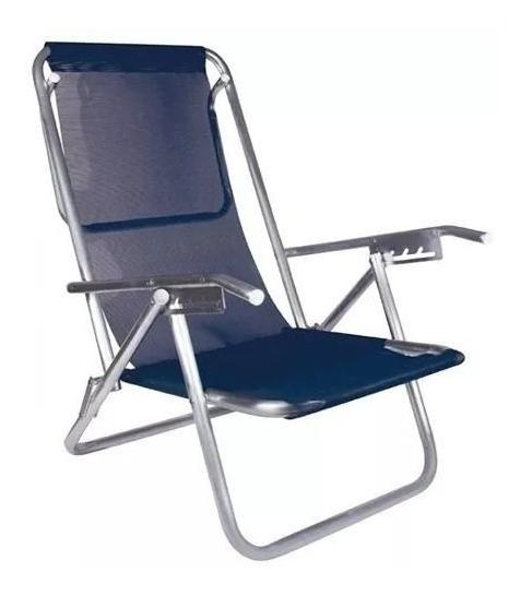 Cadeira Praia Reclinavel 5 Posições 130kg Aluminio Com Apoio