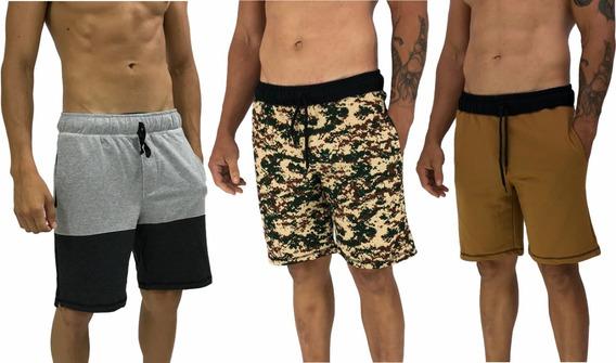 Kit 3 Bermudas Moletom Sortidas Atacado Promoção Shorts Slim