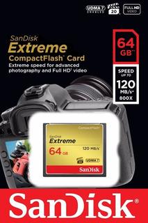 Cartão Memória Compact Flash Sandisk Extreme 64gb 120mb/s