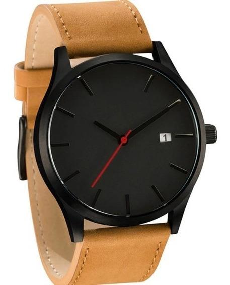 Relógio Social Luxo Masculino Pulseira De Couro Preta Quartz