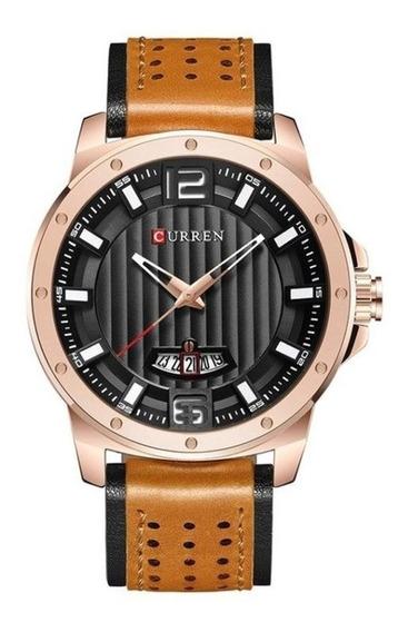 Relógio Masculino Esportivo Curren Pulseira Couro Garantia