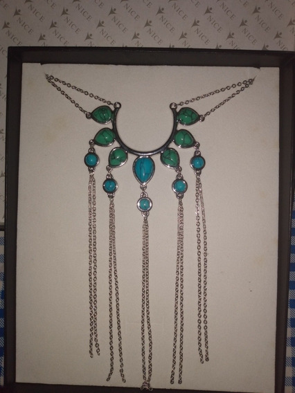 Collar Azul Turquesa 70 Cm Largo Incluye Caja