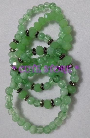 Conjunto Pulseiras Verde 5 Peças Pulseira Cristal Acrílico