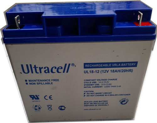 Imagen 1 de 2 de Bateria Agm 12v 18ah Ultracell Alarmas Ups Energía Solar