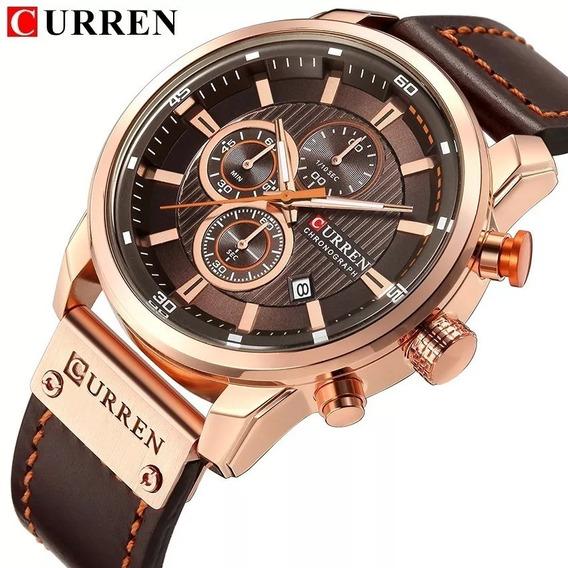 Relógio Curren 8291 Funcional Pulseira De Couro - Promoção