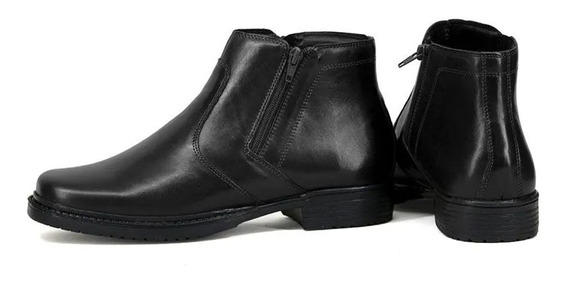 Bota Social Sapato Masculino Com Ziper Couro Legitimo