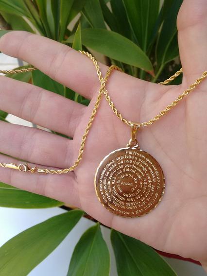 Colar 50cm Pai Nosso Medalha Grande 4cm Banhado Em Ouro 18k