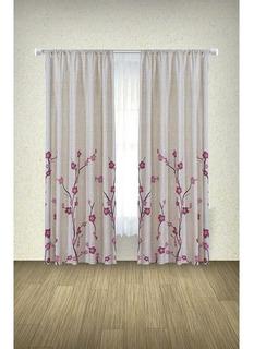 Cortinas Decoración Flores Beige/rosa Transparencia Media
