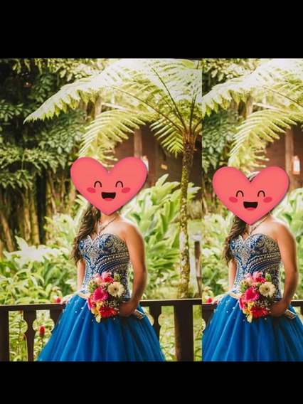 Vestido Azul De Xv Años, Corset Bordado En Pedrería. Talla M