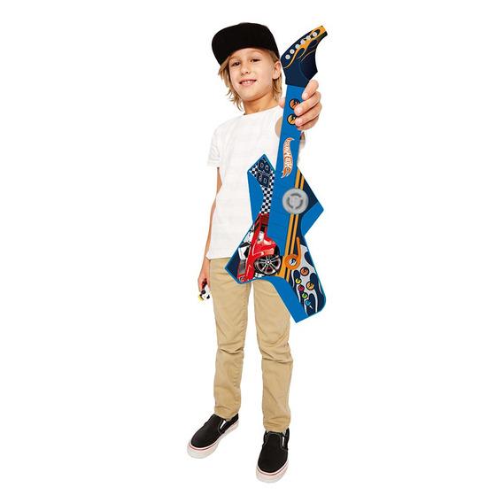 Guitarra De Brinquedo Hot Wheels Azul Menino - Fun