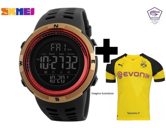 Relógio Skamei 1251prova Dágua + Camisa Do Borussia Dortmund