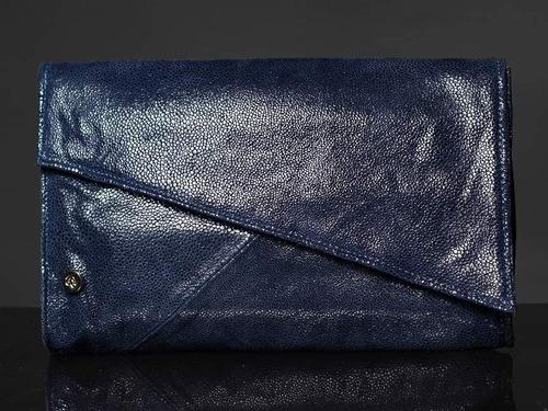 Sobre De Cuero De Mano Adoratta Donna Azul Brillo Cuotas