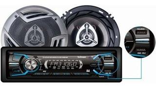 Combo Auto Radio Bluetooth + Parlantes 16 Cm Bowmann