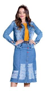 Jaqueta Jeans Joyaly Destroyed Moda Evangelica Eminina