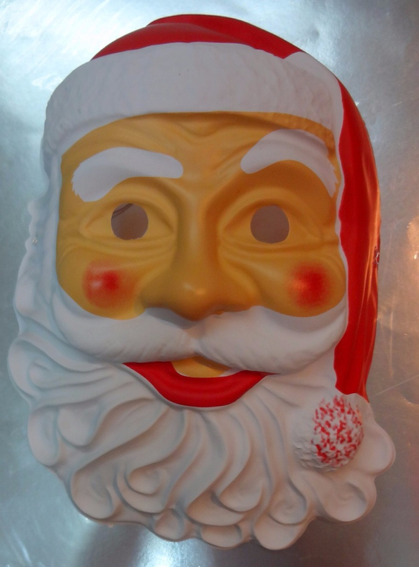 Disfraz Papa Noel - Mascara / Careta Plastico Navidad