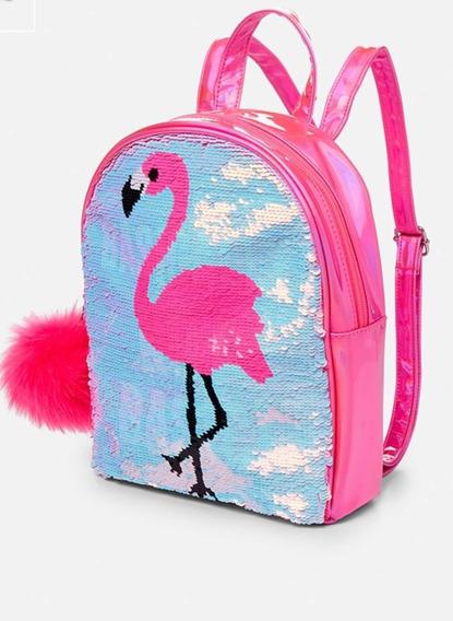 Mochila Infantil Justice Com Paetes Flamingo Original