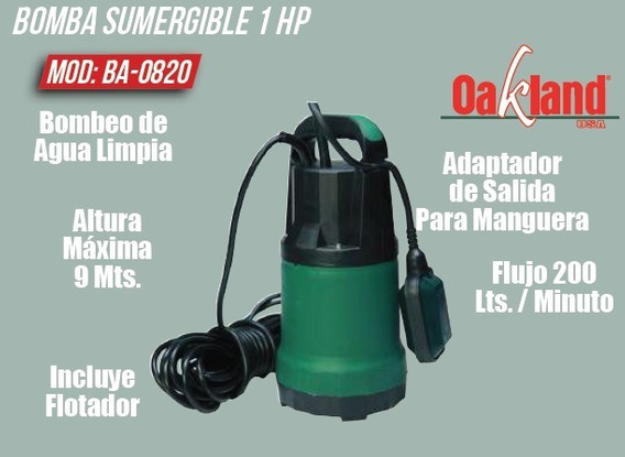 Bomba Sumergible Para Cisterna 1 Hp Oakland Ba-0820
