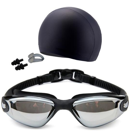 Set De Natacion Goggles Con Gorro Y Clip Negro D3074