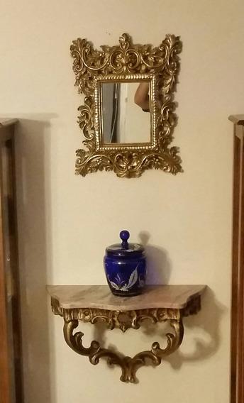 Conjunto De Aparador Mármore Antigo Com Espelho