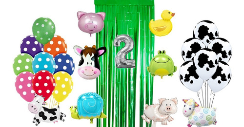 Combo Kit 29 Globos Cumpleaños Animalitos De La Granja