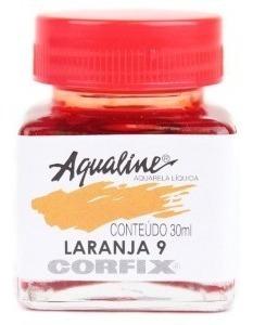 3x Aqualine Aquarela Líquida Aerografia Corfix 30ml - Laranj