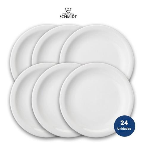 Set X 24 Plato Playo Porcelana Blanca Schmidt 26 Cm