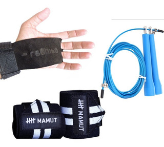 Kit Crossfit Corda Speed Rope +munhequeira Mamut + Hand Grip