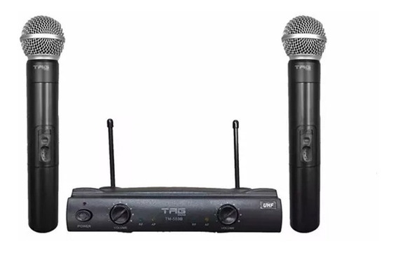 Microfone Duplo Tagima Tag Sound Uhf Tm 559b Sem Fio