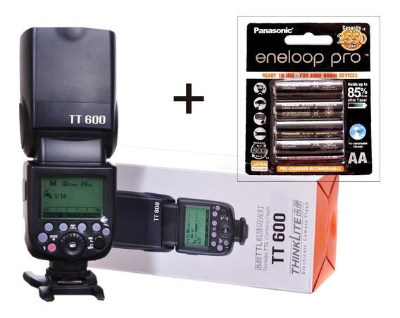Flash Godox Tt600 2.4g Hss + 04 Pilhas Rec. Eneloop Pro