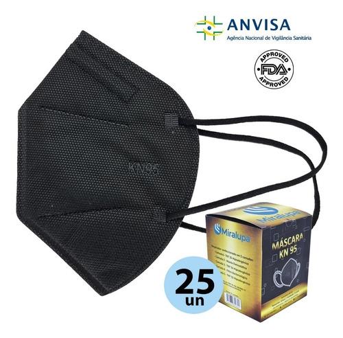 Imagem 1 de 5 de Mascara Kn95 N95 5 Camadas Proteção Preta Kit 25un Anvisa