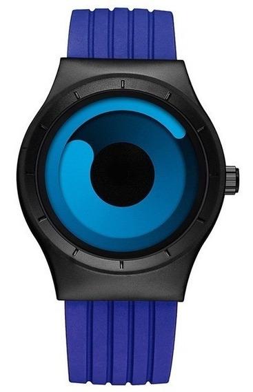 Relógio Luxo Quartzo Azul E Preto Esporte Original Sinobi