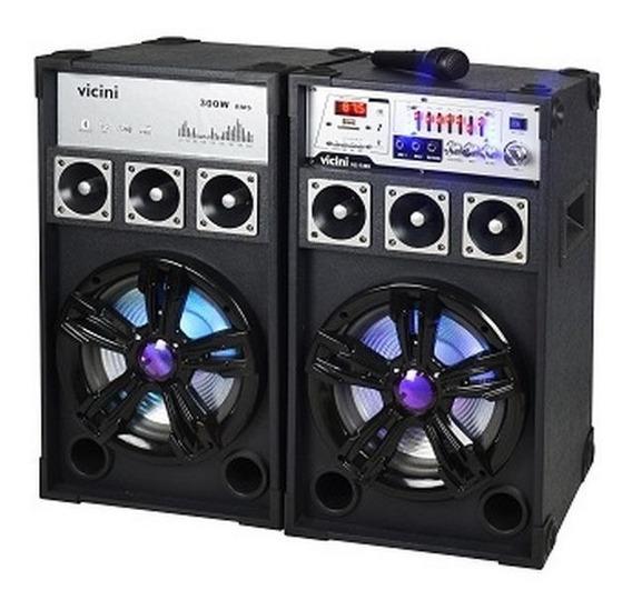 Audio Casa Caixa Som Amplificada Potente Microfone Usb 1400