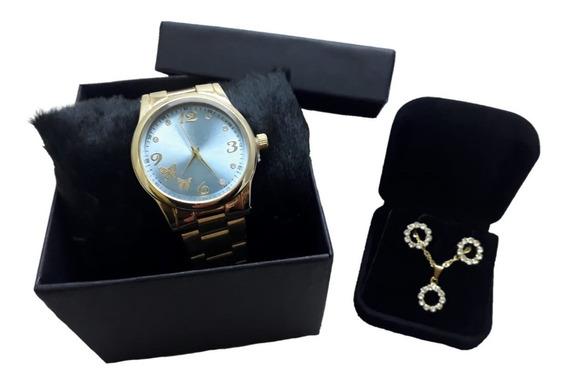 Relógio Luxo Feminino + Brincos E Colar Com Caixa Dourado