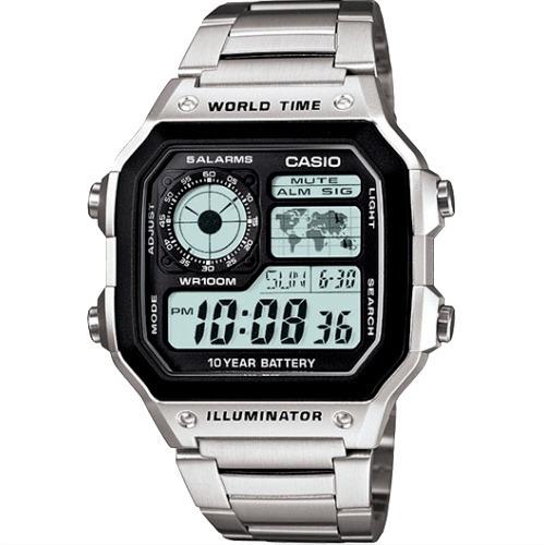Relógio Casio Ae1200whd 5 Alarmes Aço C/etiqueta E Manual