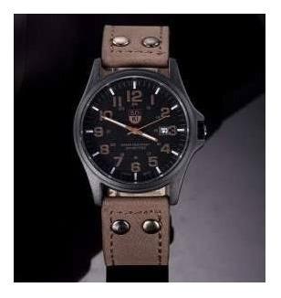 Relógio Masculino Com Pulseira De Couro (marrom)-militar Lux