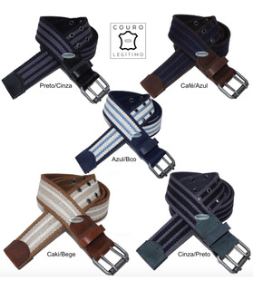 Cinto Plus Size Lona Premium Listrada Couro 4cm L39sl Pt