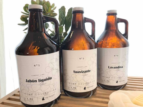 Imagen 1 de 9 de Set 3 Botellones De Vidrio Laundry 1900ml Recargables