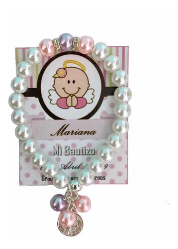 Imagen 1 de 9 de 15 Pulsera Recuerdo Bautizo Niña Rosa Baby Shower Comunion