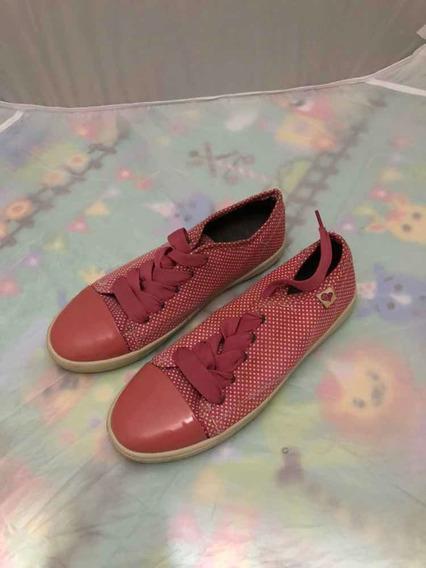 Zapatos Casuales De Mujer, Color Rosa Con Puntitos