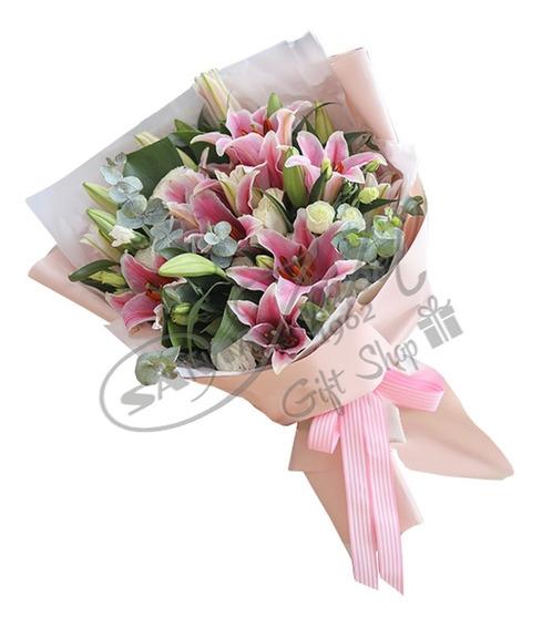 Ramo De Flores Lilium Lirios Rosados Flores A Domicilio