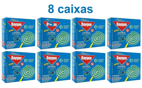 Kit 8 Caixas Repelente Baygon Espiral Contra Mosquitos