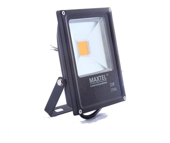 Refletor Led 20w Holofote Maxtel Branco Frio Bivolt Ip66