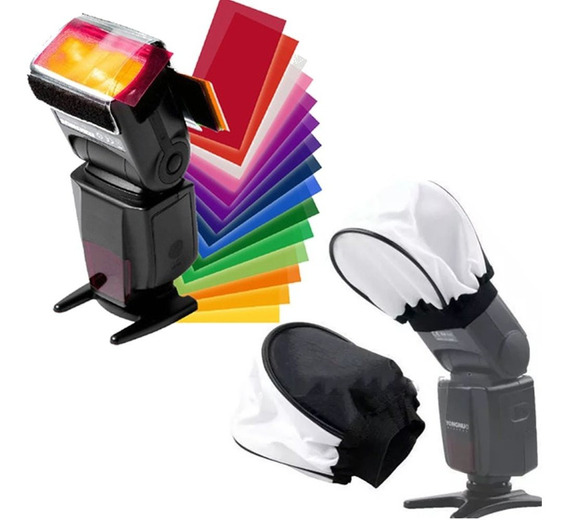 Difusor + 12 Gelatina Velcro Para Flash Externo Canon Nikon