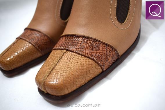 Zapato Taco Cono Cuero Mujer Vestir Combinado Quica Aguaray