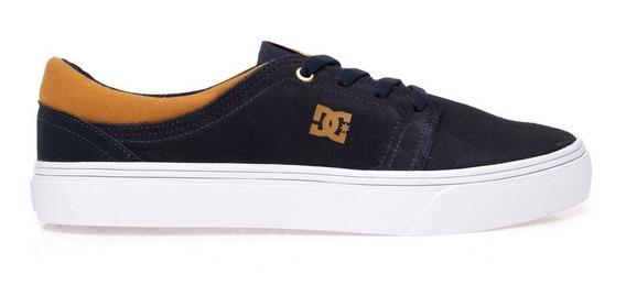 Tênis Dc Shoes Skate Trase S Azul Marinho Masculino Original Couro Casual Promoção Envio Imediato