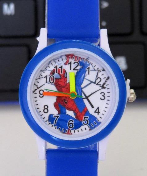 Relógio Do Homem Aranha Azul Analógico Infantil Mini C308