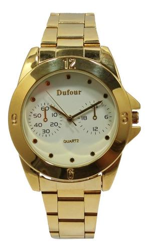 Reloj Dufour Lady Quartz Acero Dorado Original  Garantia 12m