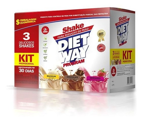 Shake Emagrecedor Diet Way Program 900g - Embalagem 30 Dias