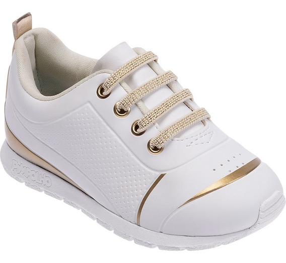 Tênis Pimpolho Branco/dourado Com Elástico Do 22 Ao 27