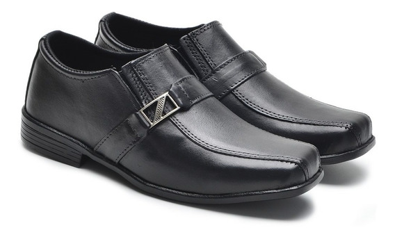Sapato Masculino Preto Em Couro Sola Emborrachada Infantil